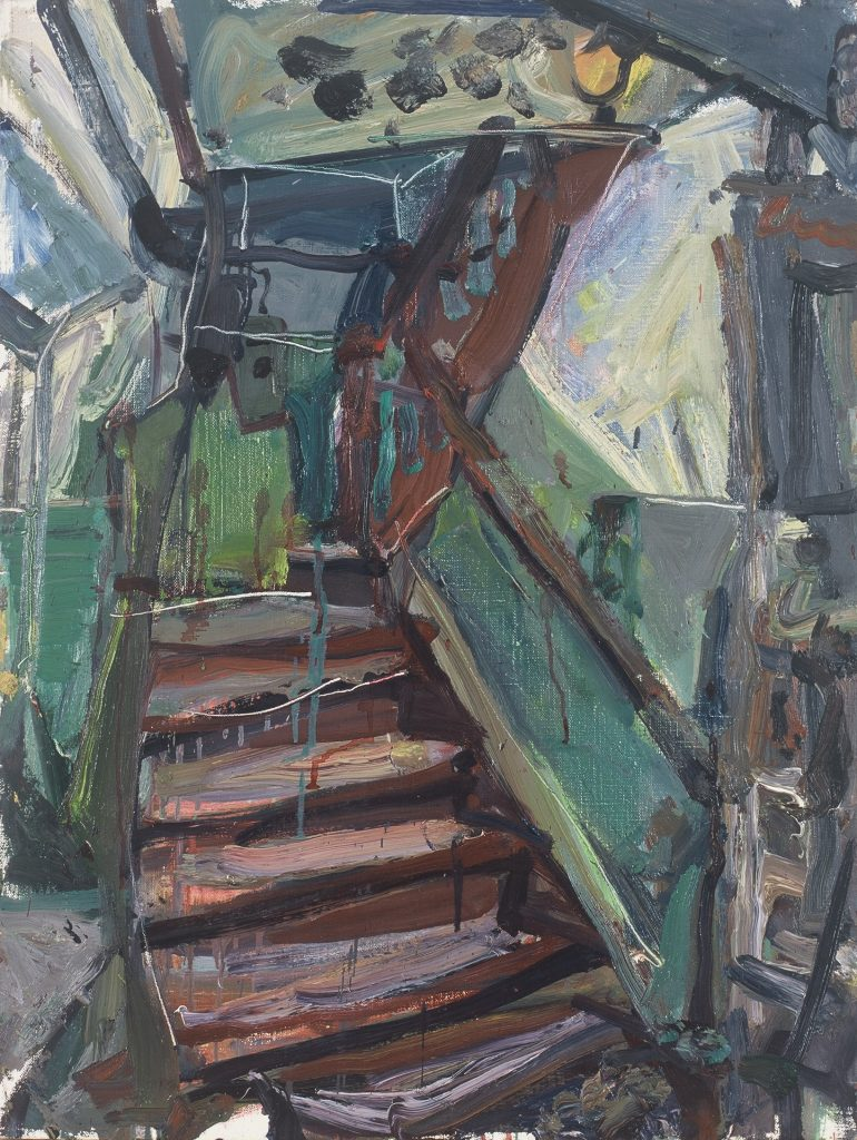 Arūnas Vaitkūnas, 1998. A staircase with reinforcements. Canvas, oil, 80 x 60