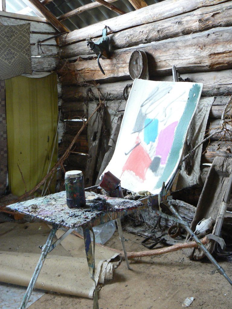 Arūnas Vaitkūnas' working place in his summer studio in Margionys, 2006
