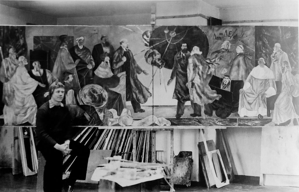 Raimundas Sližys and his final painting in Institute of Arts, 1976